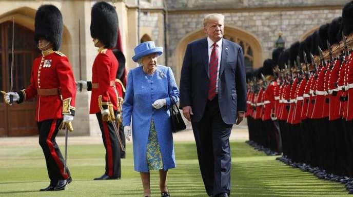 Donald Trump im vergangenen Juli zusammen mit der britischen Königin.