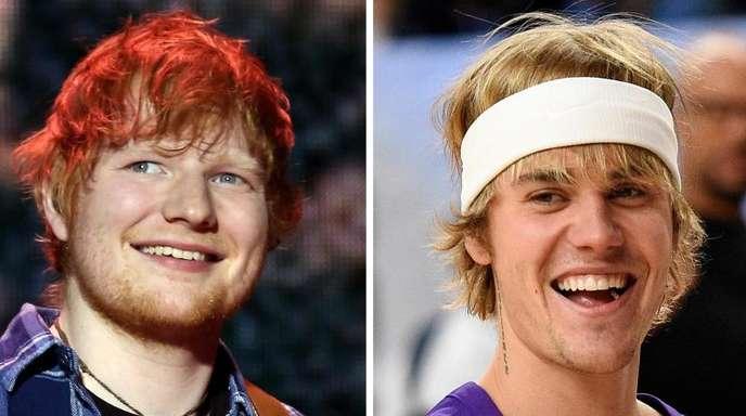 Ed Sheeran (l.) und Justin Bieber sind für eine Single ein Duo. Fotos: Isabel Infantes/Robin Townsend