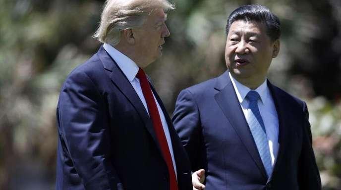 US-Präsident Trump und Chinas Staatschef Xi Jinping Anfang April 2017 nach einem Treffen in Florida.