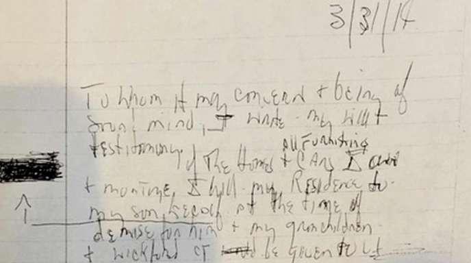 Schwer lesbar: eines der drei handschriftlichen Testamente von Aretha Franklin.