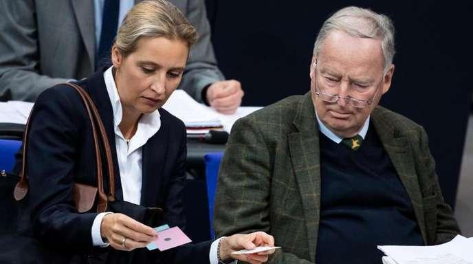 Beide «Wessis»: die AfD-Fraktionsvorsitzenden Alice Weidel und Alexander Gauland. Froto: Bernd von Jutrczenka