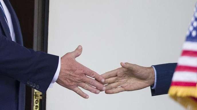 Handshake zwischen US-Präsiden Donald Trump (l.) und dem kanadischen Premier Justin Trudeau.