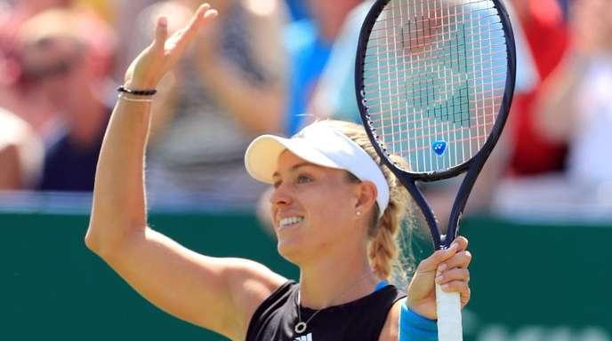 Steht nach einem klaren Zweisatzsieg über Simona Halep im Halbfinale von Eastbourne: Angelique Kerber.