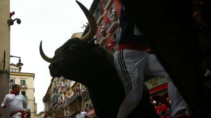 Stierhatz in den Gassen von Pamplona.