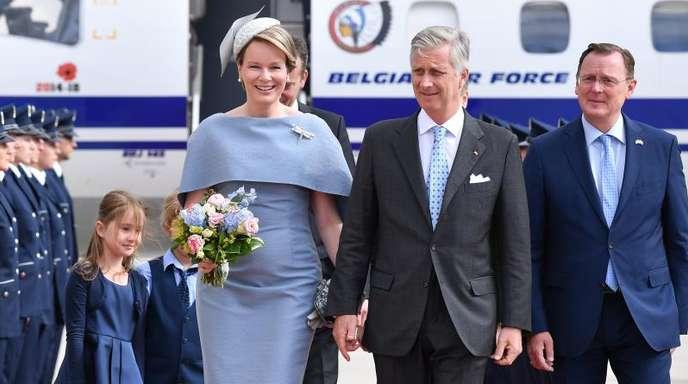 König Philippe und Königin Mathilde sind auf dem Flughafen Erfurt-Weimar gelandet.