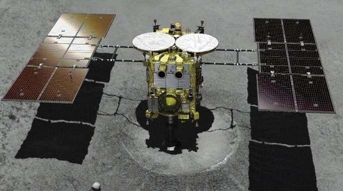 Ein computeranimiertes Bild zeigt das japanische unbemannte Raumschiff «Hayabusa2».