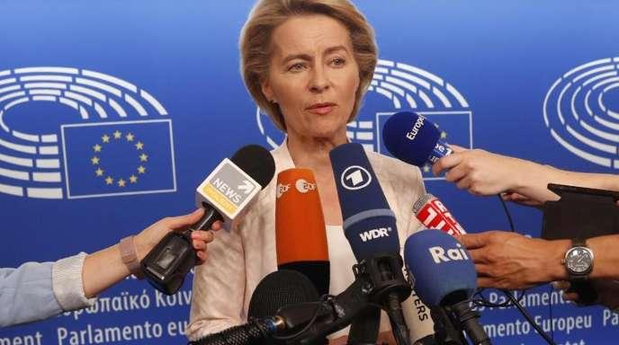 Umstrittene Kandidatin:Ursula von der Leyen im EU-Parlament.