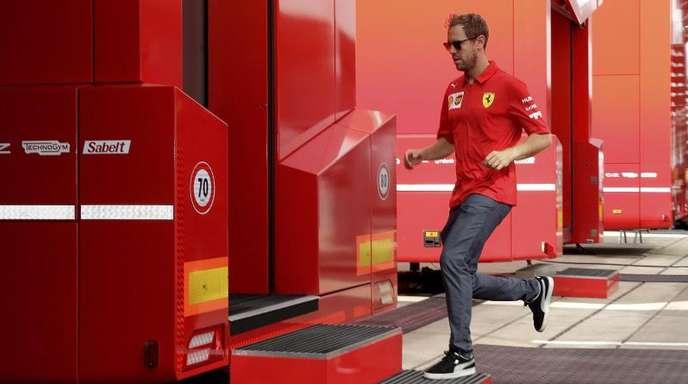 Auf dem Sprung in Silverstone: Sebastian Vettel.