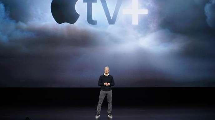 Apple-Produktvorstellung mit CEO Tim Cook. Apple TV+ soll ebenso wie Disney+ im November starten.