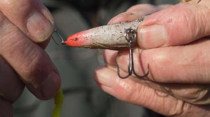 Ein Angler bereitet seine Angel vor und hängt einen Drilling an die Angelschnur. Der Fischereiverband beschäftigt sich derzeit mit dem Kliamwandel.