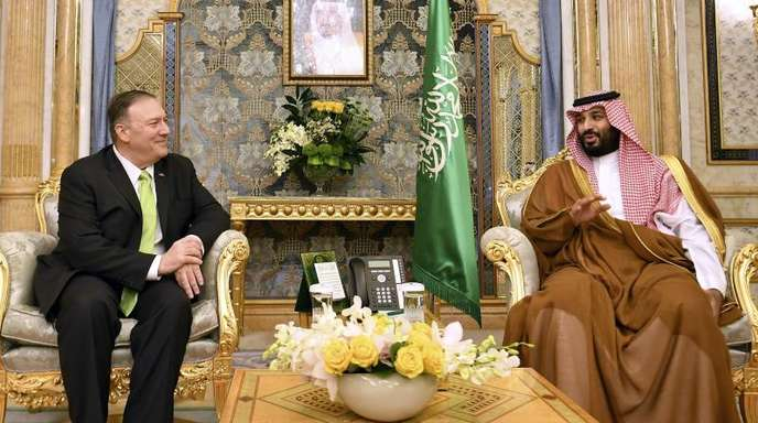 Der saudische Kronprinz Mohammed bin Salman empfängt US-Außenminister Mike Pompeo in Jiddah.