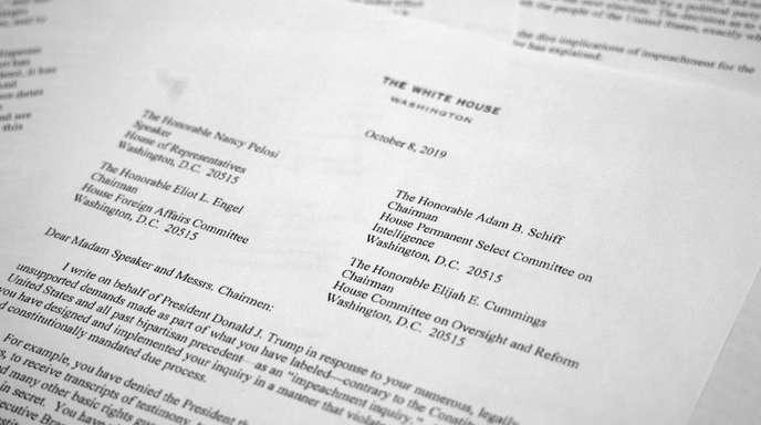 Ein Brief von Pat Cipollone, dem Rechtsberater des Weißen Hauses. Das Weiße Haus verweigert bei den Ermittlungen gegen Präsident Donald Trump in der Ukraine-Affäre jede Kooperation mit dem US-Repräsentantenhaus. Fo.