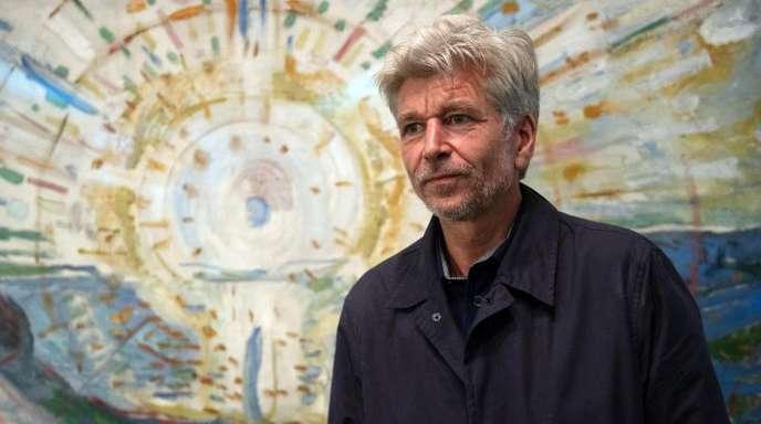 Karl Ove Knausgård vor Munchs Bild «Die Sonne» aus dem Jahr 1912.