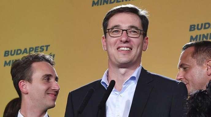 Gergely Karacsony, der siegreiche Kandidat der Opposition, nach der Bürgermeisterwahl in Budapest.