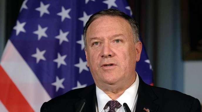 Mike Pompeo, Außenminister der USA, während einer Pressekonferenz.