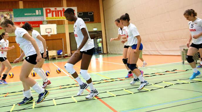In der intensiven Vorbereitung haben die Spielerinnen des VC Printus Offenburg, hier Katrin Kreuzer, Neuzugang Salomé Dikongué, die französische Gastspielerin Manon Bolley und Hanna Frei (v. l.), auch an der Koordination gearbeitet.