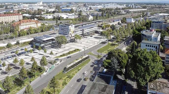 Egis (Fotomontage) - Die Verlängerung der Straßenbahnlinie D über den Rhein bis zum Kehler Bahnhof (1. Bauabschnitt) – hier die Vision der Planer – soll bis Juni 2016 abgeschlossen sein.